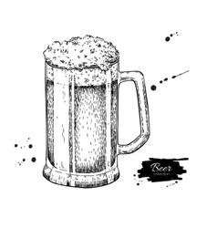 glass mug beer sketch style vector image