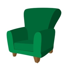 Green armchair cartoon icon vector