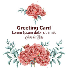 greeting card with roses flowers watercolor vector image