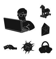 hacker and hacking black icons in set collection vector image