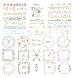 Hand drawn Doodle brushes wreath frame set vector