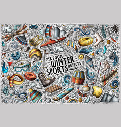 hand drawn doodle cartoon set winter vector image