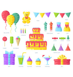 happy birthday circle infographics template vector image