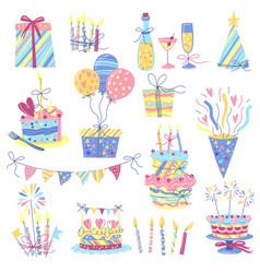 happy birthday icon set celebration or holiday vector image