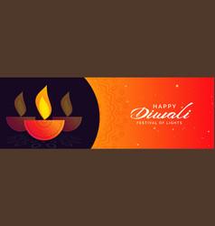 Happy diwali banner design with decorative diya vector