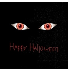 Happy Halloween card with red eyes vector image