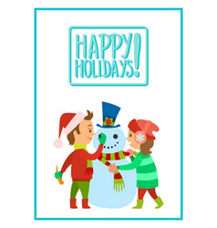 happy holidays children making snowman vector image