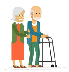 happy old couple smiling and walking in a park vector image
