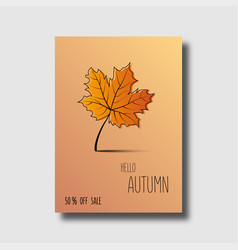 hello autumn poster or banner autumn sale 50 off vector image