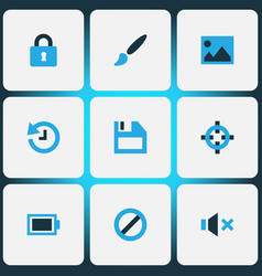 interface colorful icons set collection of vector image