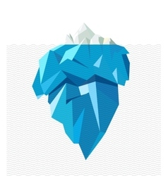 Isolated full big iceberg with line waves flat vector