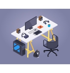 Isometric artist workplace vector