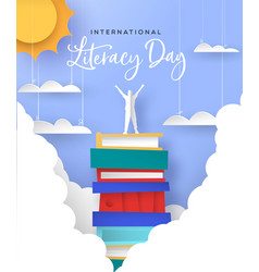 Literacy day card man in papercut book mountain vector