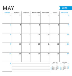 May 2020 square monthly calendar planner template vector