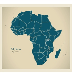 Modern Map - Africa continent with frontiers vector image