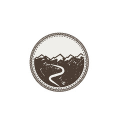 mountain patch and sticker vintage hand drawn vector image