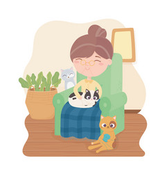 old woman sitting on chair with cats in room vector image