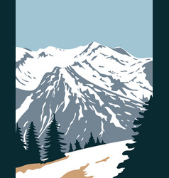 Olympic national park with summit mount vector