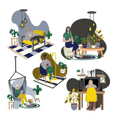 people relax at home cartoon flat vector image