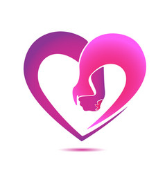 pink heart holding hands icon logo vector image