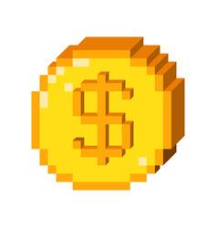 Pixel 3d dollar icon vector