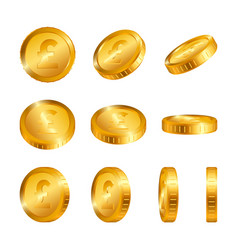 Pound gold coins isolated on white background vector