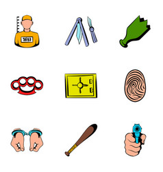 Prisoner icons set cartoon style vector