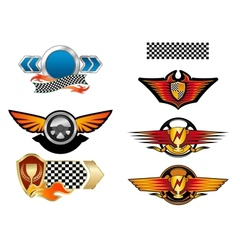 Racing sports emblems and symbols vector image