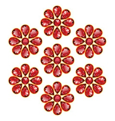 Red Flowers of Rubies Isolated Objects vector image