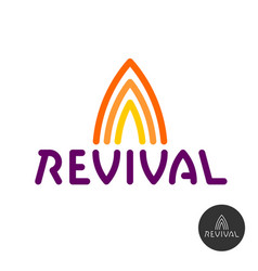 revival text logo with fire symbols above vector image