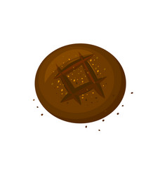 rye round dark bread icon vector image