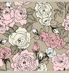 Seamless pattern of wild roses blossom branch vector