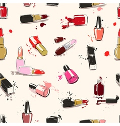 seamless pattern with lipstick end nail polish vector image