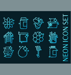 set apiary blue glowing neon icons vector image