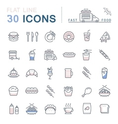 Set Flat Line Icons Fast Food and Junk Food vector image