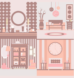 Set interior design made in style collection vector