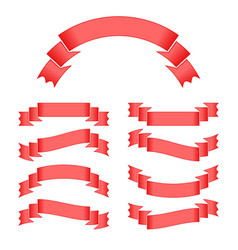 Set of red isolated ribbons banners on white vector