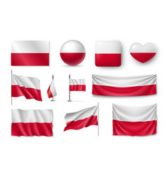 Set poland flags banners banners symbols flat vector