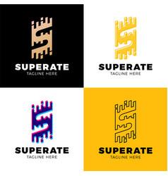 Set super rate logo - letter s line logotype vector