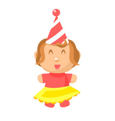 small happy baby girl in party hat and yellow vector image