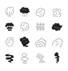 Smoke line icon steam smell and smoking clouds vector