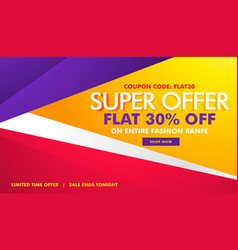 Super offer sale and discount banner with vector