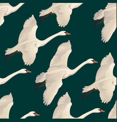 Swans flying seamless pattern of drawing vector