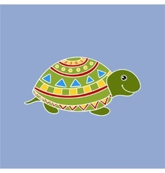 Turtle Wearing Tribal Clothing vector image