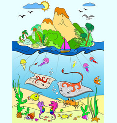 underwater world with fish plants island and vector image