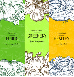 vegan healthy organic banner set vector image