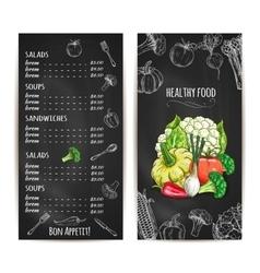 Vegetarian healthy food menu chalk sketch vector