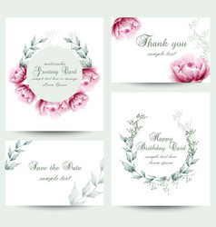 Watercolor peony flowers blossom card set vintage vector
