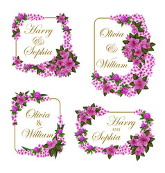 Wedding invitation cards of flowers vector