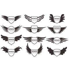 Wings logo winged emblems angel and phoenix vector